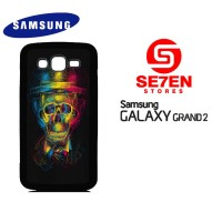 Casing HP Samsung Grand 2 Colorful Overlap Skull In Hat Custom Hardcas