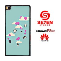 Casing HP HUAWEI P8 LITE Cute penguines and baloons Custom Hardcase Co