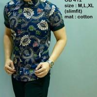 Baju Kemeja Pria Batik Slim Fit Modern Lengan Pendek Ob-412