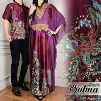 kaftan satin abaya maxi salma + kemeja batik