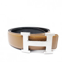 HERMES REVERSABLE BELT CAMEL WITH H PALLADIUM BUCKLE (SILVER)