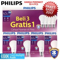 Jual Lampu LED Bulb PHILIPS 6,5W Paket 3 Free 1 - 6,5 W Watt 6 ,5Watt Murah