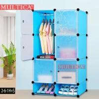 Multica Lemari Mini Kos Foldable DIY Rak Baju Pakain Rak Sepatu