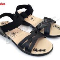 Sepatu Sandal Wanita BATA 4/6551 Elastis Tali Silang - Hitam & Beige