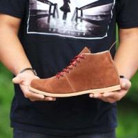 Sepatu Kickers Brodo Buckles Kulit Suede Brown