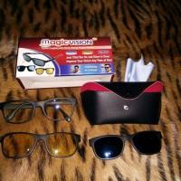 Jual New Product: Kacamata Magnet Clip On 3 in 1 Magic Vision Murah
