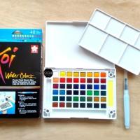 Sakura Koi Watercolor 48 Pocket Field Sketch Box Cat Air Padat 48 Warn