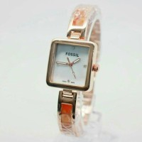 Jam Tangan Wanita Fossil Jazzy Square Soft Orange KW Super