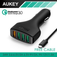 Jual Aukey Fast Quick Charger Car Charger 4 USB Port Quick Cahrge 3.0 CC-T9 Murah