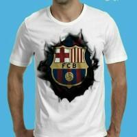 Jual Tshirt 3D Update, Baju Kaos Pria 3D Klub Bola Barcelona Putih Murah