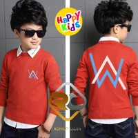 Jual Sweater Anak DJ Alan Walker - Merah 3 - Roffico Kids Murah