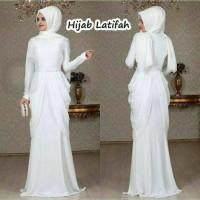Hijab Latifah White Gamis Terbaru Warna Putih Busana Muslim Wanita