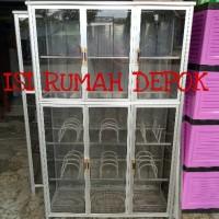 Lemari Rak Piring FULL Kaca 3 pintu Allumunium