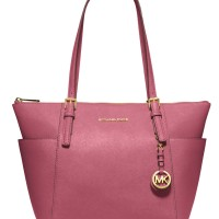 Tas Michael Kors Jet Set Top-Zip Saffiano Leather Tote