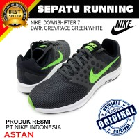 Sepatu Running Nike Downshifter 7 Dark Grey-Rage Green-White