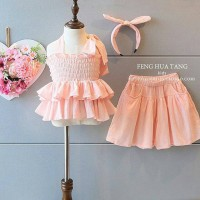 GA2429 KYLEE SET PEACH (BAJUKIDDIE) DRESS ANAK PEREMPUAN PESTA IMPORT