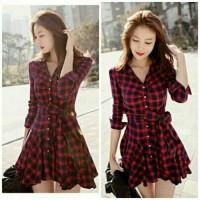dress pendek / mini dress red black square kotak lawren simply fashion