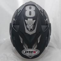 Helm DMN 2 kaca (double visor) Sport B-doff abu