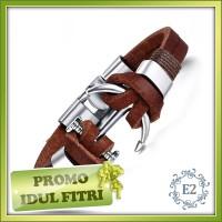 harga Men Leather Bracelet - Gelang Kulit Pria Jangkar Coklat Tokopedia.com