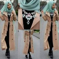 Jual busana muslim 4in1 long coat cardi black brown hijab maya fashion hotd Murah
