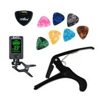 Starter Tool Kit Guitar Gitar ( Tuner + Capo + 8pcs Pick Guitar )