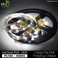 Jual Lampu LED Strip Flexible Putih White Roll 5 Meter 4,8W  IP20 SMD 2835 Murah