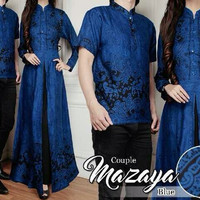 Baju Couple Muslim Terbaru Mazaya Batik Sarimbit Modern Seragam Wanita