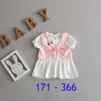 pakaian baju dress rok anak bayi cewe perempuan pink impor newborn