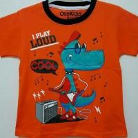 Kaos Anak Size 1-6 Dino I Play Loud Orange|kaos Karakter Anak Laki