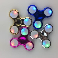 Fidget Spinner Led Metalic 3 Sisi Crum Mainan Toys