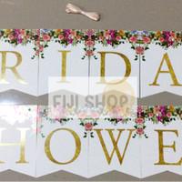 "Banner Flag / Bunting Flag tulisan ""Bridal Shower"""