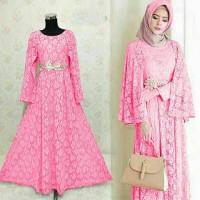 kaftan ayu/hijab style/fashion terbaru/maxi brukat/motif bordir/dress