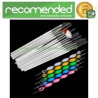 Rhinestone Nail Brush 20 in 1 Set / Kuas Kuku - Multi-Color