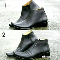 Jual Sepatu Pantofel Zipper Kulit/ Sepatu Boot Casual/ Sepatu Slip On Slop Murah