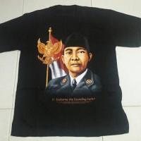 Kaos Oblong Gambar Soekarno The Faunding Father Katun Sablon Rubber
