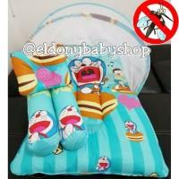 Promo !! I set kasur bayi, bantal guling, dan kelambu Doraemon