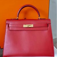 Hermes Kelly 32 Epsom Sellier GHW Rouge Cassaque