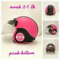 Helm Bogo Retro Anak 2-6 th Pink Hitam + Kaca Bogo Anak Murah