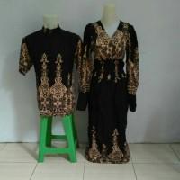 Couple Pasangan Baju Batik Long Maxi Dress Atasan Kemeja Giovany Hitam