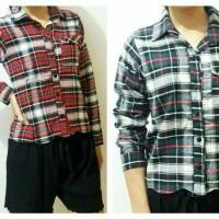 Jual Pakaian Wanita - Kemeja Flannel Crop Murah