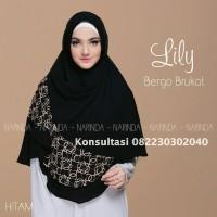 Jilbab instan bergo lily brukat warna hitam
