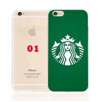 Starbucks Coffee Pattern TPU Transparent Phone Cases For iPhone 6 6S