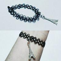 Jual Promo Sis Choker Tattoo Bracelet Silver Big Eiffel | Gelang Handmade P Murah