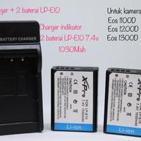 X-pro 1 charger + 2 unit baterai canon LP-E10 1030mah eos 1100D / 1200