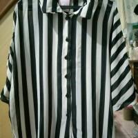 Jual baju wanita atasan kemeja batwing blouse garis stripe hitam putih Murah