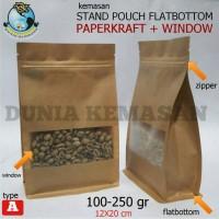 Jual GUSSET PAPERCRAFT WINDOW FLATBOTTOM 100-250GR/KEMASAN KOPI/GUSSET Murah