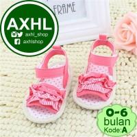Jual Red Pink Layer Lace A 0-6 Bulan Sepatu Bayi Lucu / Baby Girl Prewalker Murah