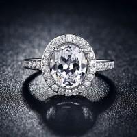 Cincin Lapis Emas Putih Berlian Wanita Imitasi Batu Oval - BR132