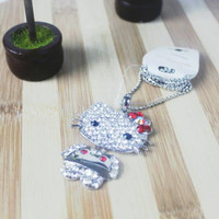 Jual necklace hello kitty kalung cewek import silver red Murah