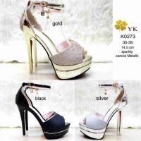 Jual KODE K0273 Heel Sandal sparkly Metalik Open Toe Pump Shoes Import Murah